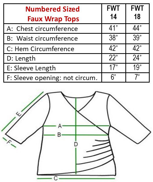 numbered faux wrap tops sizes chart