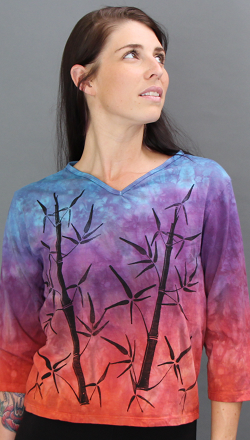 Bamboo Sunset 3/4 Sleeve V-neck