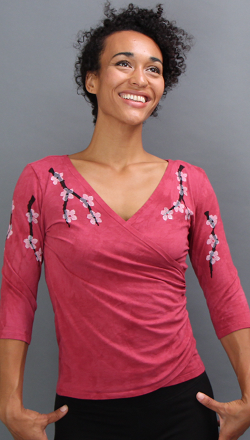 Cherry Blossom Faux Wrap Top