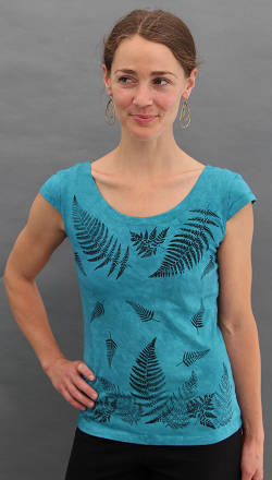 Ferns Aqua Cap Sleeve Top