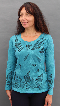 Ferns Aqua Long Sleeve Roundneck