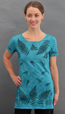 Ferns Aqua Short Sleeve Tunic