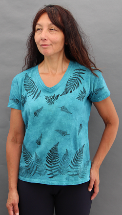 Ferns Aqua Short Sleeve V-neck