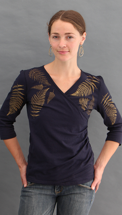 Ferns Black Faux Wrap Top