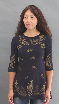 Ferns Black Trapeze Top