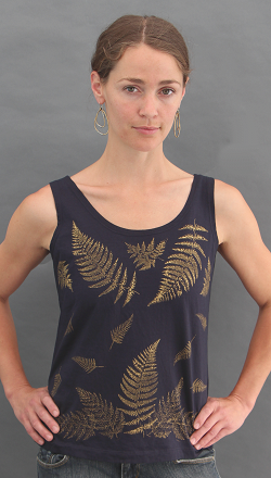 Ferns Black Tank Top