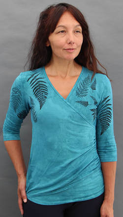 Ferns Aqua Faux Wrap Top