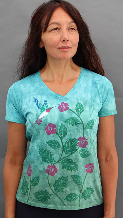 Hummingbird short sleeve V-neck
