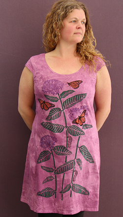 Monarchs & Milkweed cap sleeve dress