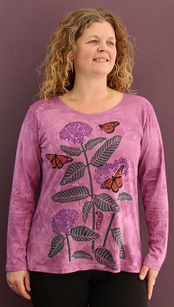 Monarchs & Milkweed long sleeve roundneck
