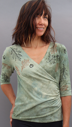 Oak leaves faux wrap top