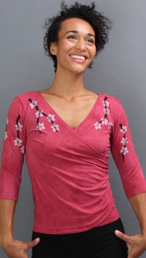 Cherry Blossom Faux Wrap Clearance Top