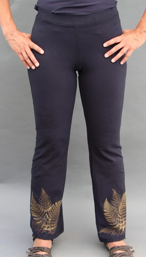 Ferns on Black Bootleg Pants