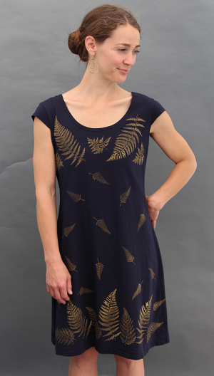Ferns Black Cap Sleeve Dress