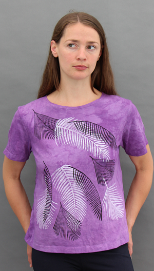 Palms Purple Short Sleeve Scoopneck